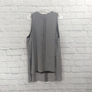 Micheal Kors | Stripe Navy/White High Low Tank